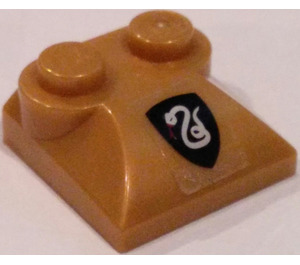 LEGO Pearl Gold Slope 2 x 2 Curved with Slytherin Sticker with Curved End