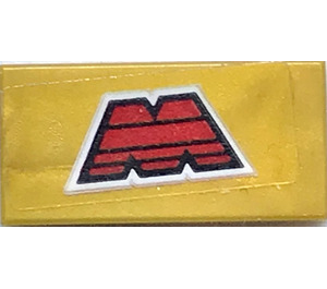 "LEGO Pearl Gold Tile 1 x 2 with ""M"" logo Sticker with Groove"