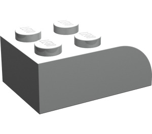 LEGO Pearl Light Gray Brick 2 x 3 with Curved Top (6215)