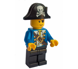 LEGO Pirate with Blue Jacket and Bicorne with White Skull and Bones Minifigure