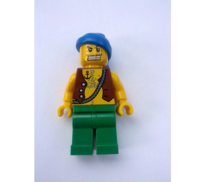 LEGO Pirate with Brown Vest and Anchor Tattoo and Gold Tooth Minifigure