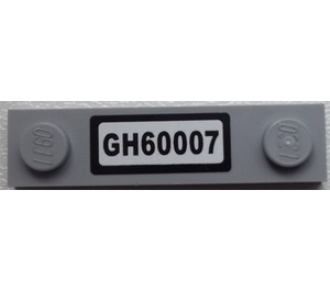 LEGO Plate 1 x 4 with Two Studs with GH60007 License Plate Sticker (92593)