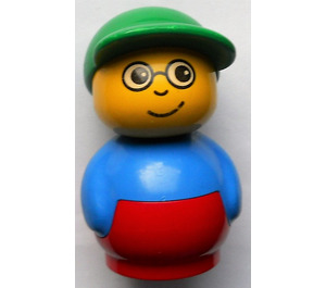 LEGO Primo Figure, Boy with Red Base, Blue Top, Green Hat, Glasses Primo Figure