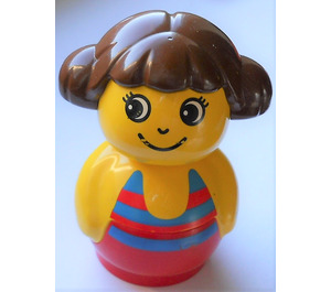 LEGO Primo Figure, Girl with Red Base, Yellow Top, Swimsuit with Stripes pattern Primo Figure