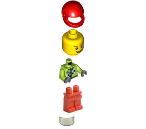LEGO Race Car Rally Driver with Checkered Pattern Minifigure