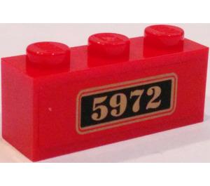 "LEGO Red Brick 1 x 3 with ""5972"" Sticker"