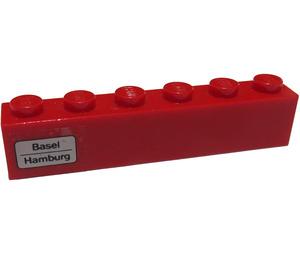 LEGO Red Brick 1 x 6 with 'Basel - Hamburg' on Left Side Sticker
