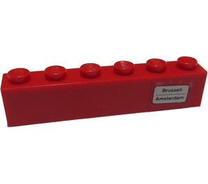 LEGO Red Brick 1 x 6 with 'Brussell - Amsterdam' on Right Side Sticker