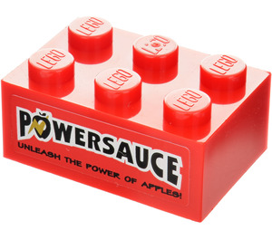 LEGO Red Brick 2 x 3 with Powersauce Sticker