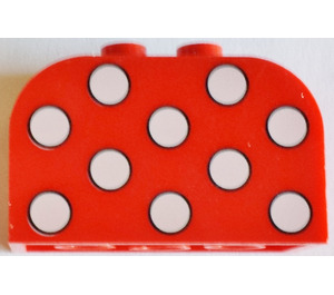 LEGO Red Brick 2 x 4 x 2 with Curved Top with White Dots