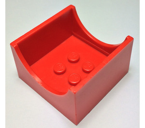LEGO Red Container Box 4 x 4 x 2 with Hollowed-Out Semi-Circle (4461)