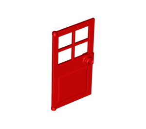 LEGO Red Door 1 x 4 x 6 with 4 Panes and Stud Handle (60623)