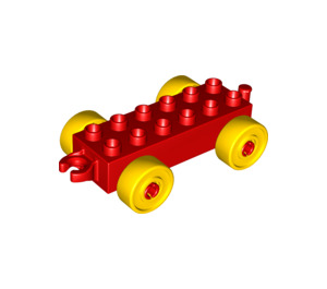LEGO Red Duplo Car Chassis 2 x 6 with Yellow Wheels (10715 / 14639)