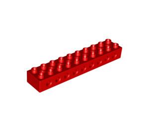 LEGO Red Duplo Technic Brick 2 x 10 (9 Holes) (6515 / 75350 / 96828)