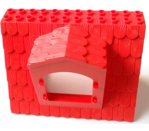 LEGO Red Fabuland Roof Block with Window 6 x 12 x 7