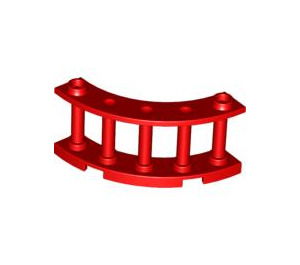 LEGO Red Fence Spindled 4 x 4 x 2 Quarter Round with 2 Studs (30056)