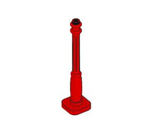 LEGO Red Lamp Post, 2 x 2 x 7 with 6 Base Grooves (2039)