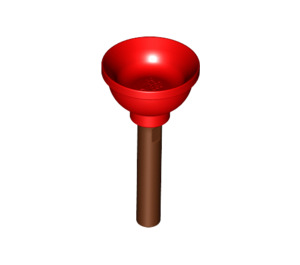 LEGO Red Minifigure Plunger with Reddish Brown Handle (11459)