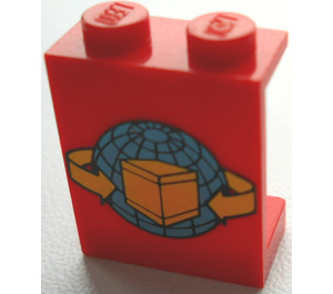LEGO Red Panel 1 x 2 x 2 with Transport Planet, Arrows, and Box without Side Supports, Solid Studs