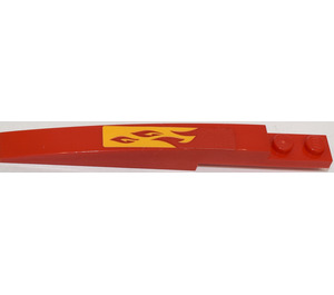 LEGO Red Slope 1 x 8 Curved with Plate 1 x 2 with Orange Flames (Right) Sticker