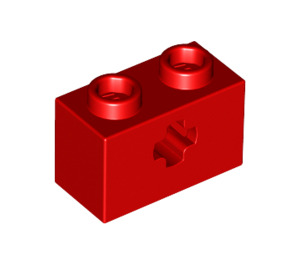 LEGO Red Technic Brick 1 x 2 with Axle Hole (New Style with 'X' Opening) (32064)