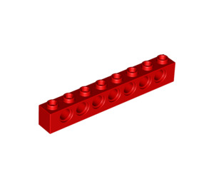 LEGO Red Technic Brick 1 x 8 with Holes (3702)