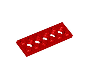 LEGO Red Technic Plate 2 x 6 with Holes (32001)