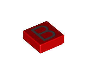 """LEGO Red Tile 1 x 1 with """"B"""" with Groove (13407)"""
