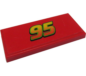LEGO Red Tile 2 x 4 with '95' Sticker