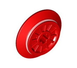 LEGO Red Train Wheel with Axle Hole and Friction Band (55423 / 57999)