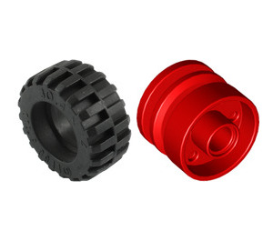 LEGO Red Wheel Rim Ø18 x 14 Assembly with Pin Hole