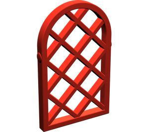 LEGO Red Window 1 x 2 x 2.667 Pane Lattice Diamond with Rounded Top