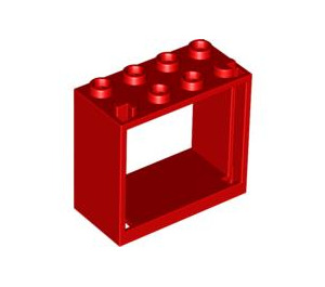 LEGO Red Window 2 x 4 x 3 with Square Holes (60598)