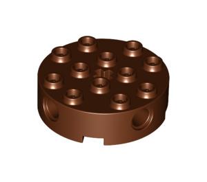 LEGO Reddish Brown Brick 4 x 4 Round with Holes (6222)