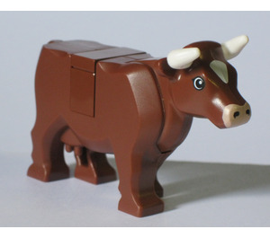 LEGO Reddish Brown Cow with White Patch on Head and Horns