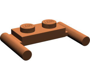 LEGO Reddish Brown Plate 1 x 2 with Handles (Low Handles) (3839)