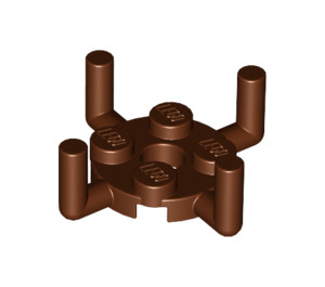 LEGO Reddish Brown Plate 2 x 2 Round with 4 Vertical Arms (65738 / 98284)