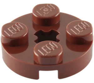 LEGO Reddish Brown Plate 2 x 2 Round with Axle Hole (with '+' Axle Hole) (4032)