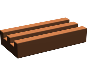 LEGO Reddish Brown Tile 1 x 2 Grille (without Bottom Groove) (2412)