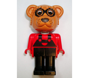 LEGO Ricky Raccoon with Red Top with Black Suspenders Fabuland Figure