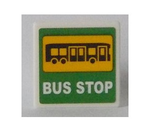 LEGO Road Sign Clip-on 2 x 2 Square with Bus and 'BUS STOP' on Green Background Sticker (15210)