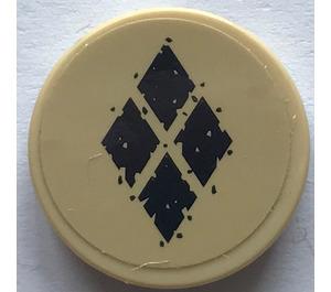 LEGO Round Tile 2 x 2 with 4 Black Diamonds Sticker (14769)