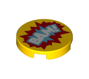 LEGO Round Tile 2 x 2 with 'BAM!' Decoration with Bottom Stud Holder (29368)