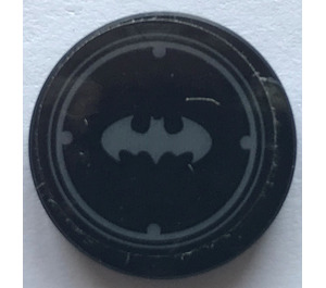 LEGO Round Tile 2 x 2 with Batman Logo in Silver Sticker (14769)