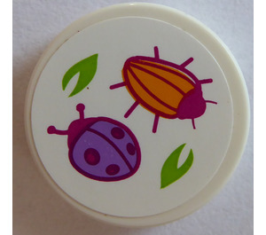 LEGO Round Tile 2 x 2 with Beetle and Ladybird Sticker (14769)