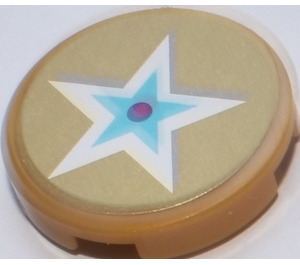 LEGO Round Tile 2 x 2 with Blue and White Star on Golden Background from Set 41104 Sticker (14769)