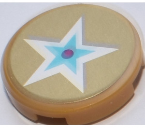 LEGO Round Tile 2 x 2 with Blue and White Star Sticker (14769)