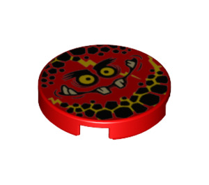 LEGO Round Tile 2 x 2 with Globlin Face with Small Teeth with Bottom Stud Holder (24399)