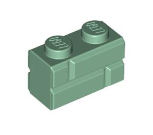 LEGO Sand Green Brick 1 x 2 with Embossed Bricks (98283)