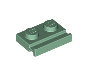 LEGO Sand Green Plate 1 x 2 with Door Rail (32028)